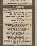"""[""""Ad from Chicago Sun-Times newspaper, Monday, January 27, 1986, showing what was playing at the River Oaks Theater""""]"""