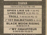 """[""""Ad from Chicago Sun-Times newspaper, Monday, January 27, 1986, showing what was playing at the Diana Cinems""""]"""