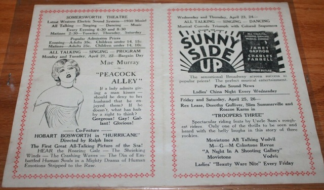 Somersworth & Strand Theatre - Schedule For Week of April 21, 1930