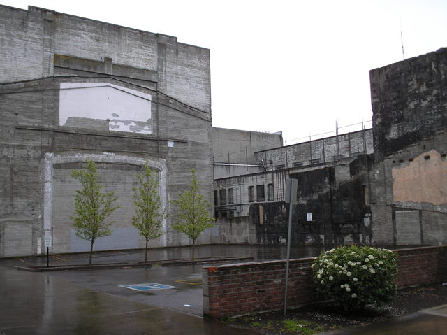 Parking lot and theatre ruins