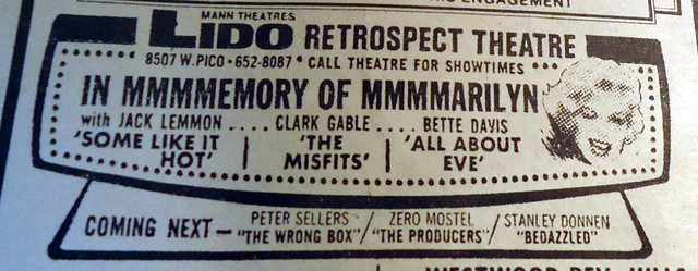 Mann's Lido Theatre newspaper ad