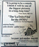 Coronet Theatre newspaper ad
