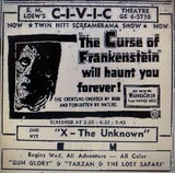 """1956 Loews Civic Theatre promotion of """"The Curse of Frankenstein"""""""