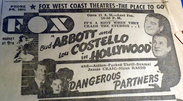 Fox Theatre newspaper ad