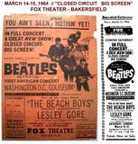 """Advertising Collectable courtesy Art Moore. March 14-15, 1964 The Beatles """"Closed Circuit Big Screen""""."""