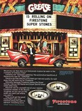 "1978 Firestone Super Stones print ad tied into ""Grease"" at the Pix Theatre."