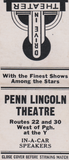 "[""Penn Lincoln Drive-In Theatre Matchbook Cover""]"