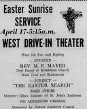 Easter Sunrise Service 1949 print ad courtesy Jon Reed.