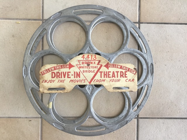 Whitestone Drive-In car plaque and a Goldberg 20-minute reel