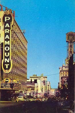 Broadway Theatre exterior with the nearby Paramount Theatre