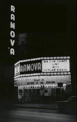 1974 Ramova Theatre marquee lit at night.