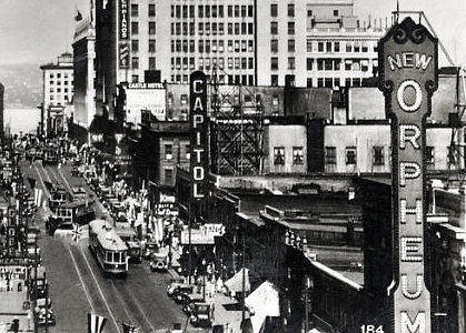 Capitol Theatre exterior with the nearby Orpheum Theatre