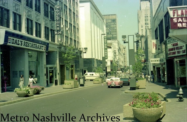 Midtown Theatre marquee on the right. 1977 photo credit Metro Nashville Archives.