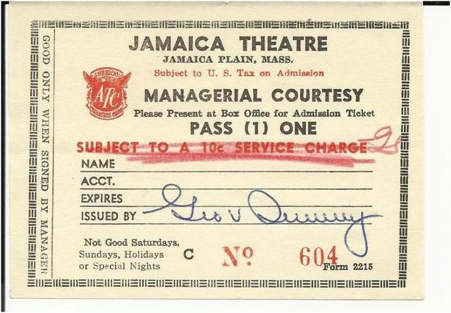 ticket from Jamaica Theatre