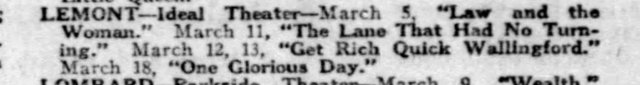 Chicago Tribune Listing for Ideal Theater - March 5 1922