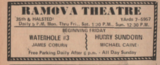 """[""""Ad from the November 29, 1967 Bridgeport News showing what was playing at the Ramova Theatre""""]"""