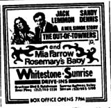 "[""Whitestone Drive-in/Sunrise Dive-in ad 8/7/1970""]"