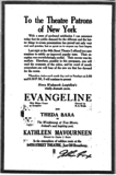 """[""""RaoulWalsh's EVANGELINE premieres at the 44th St. Theatre (screenshot of NY Times ad by Jordan Lage)""""]"""