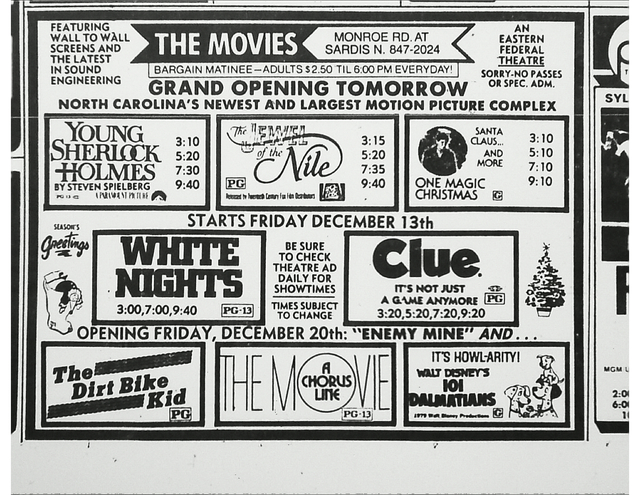 Charlotte Observer Grand Opening ad (1985)