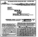 War and Peace Opening Day Ad -- 4-28-1968
