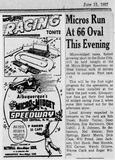 66 Micro-Midget Speedway ad/article dated 6/15/57