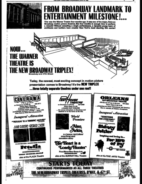 The New Broadway Triplex, July 31, 1968