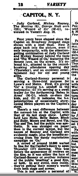 Variety review of the Garland-Rooney stage show mentioned by Comfortably Cool.  Part 1.