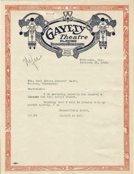 GAYETY (EMPRESS) Theatre; Milwaukee, Wisconsin.