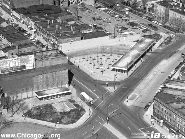 Logan Theatre vertical sign upper left. 1970 photo from the Chicago Transit Authority Collection.