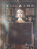 Del Mar Theatre historical marker with text of theatre's history