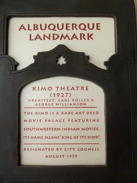 City of Albuquerque landmark designation marker for the KiMo