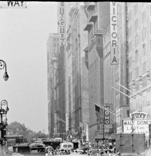 7th Ave NYC look north towards Roxt Marque 1954