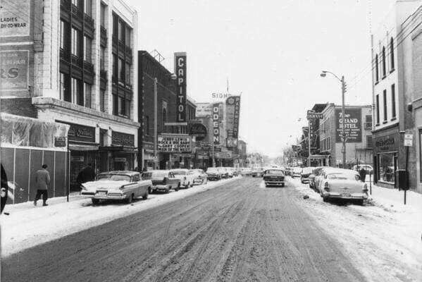 Paramount marquee left of center. 1958 photo credit & courtesy Trent Valley Archives.