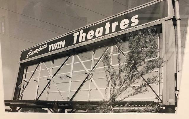 Remnants of 41 Drive-In marquee, repurposed for Campus Twin.