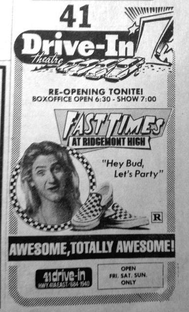 """Thursday, April 1, 1983 as the 41 Drive-In opened for the summer with """"Fast Times at Ridgemont High.""""  Photo courtesy David Melson."""