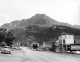 Circa 1955 photo as Ouray Theatre, painted on wall left of center.  Courtesy Mase Mason.