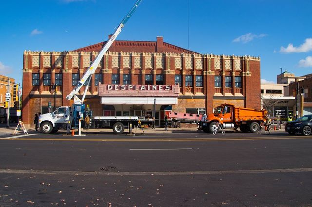 2019 marquee removal photo credit Des Plaines Theatre Facebook page.