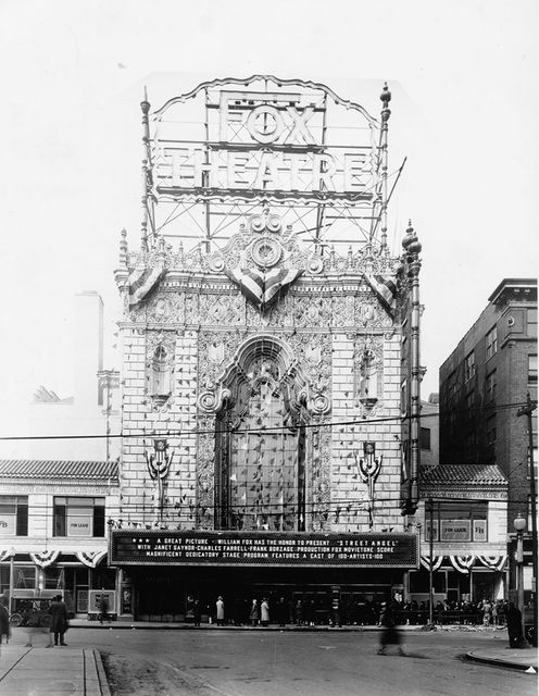 Fox Theatre. Decorated for opening, 31 January 1929, with crowd lined up at ticket windows. Photograph by W.C. Persons, 1929. Missouri History Museum Photographs and Prints Collections. PB 0115. NS 10417.