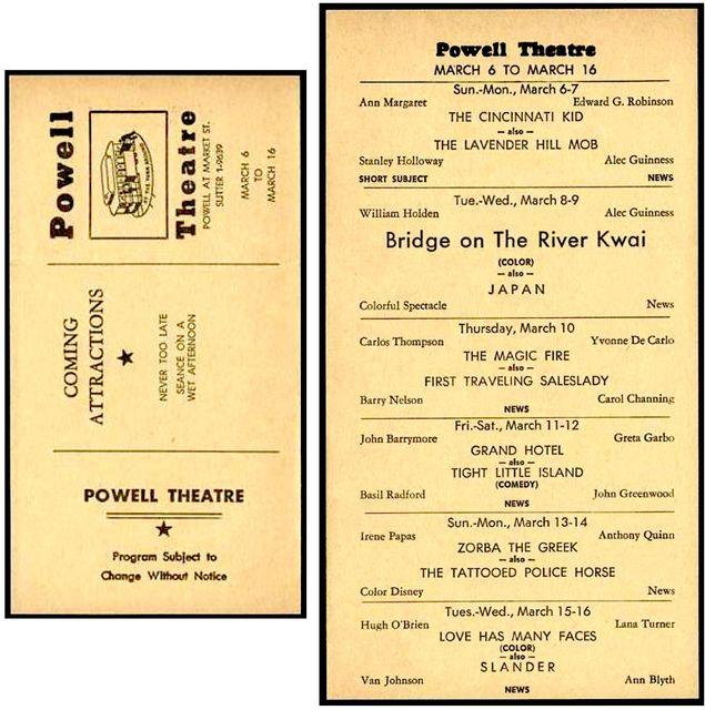 Powell Theatre Program March 1966