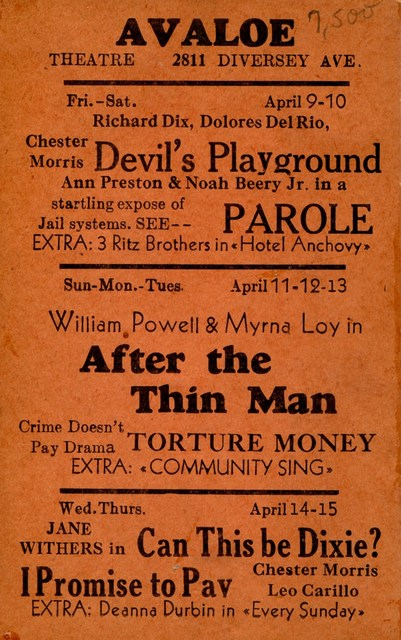 Avaloe Theater Promotional Card 1936