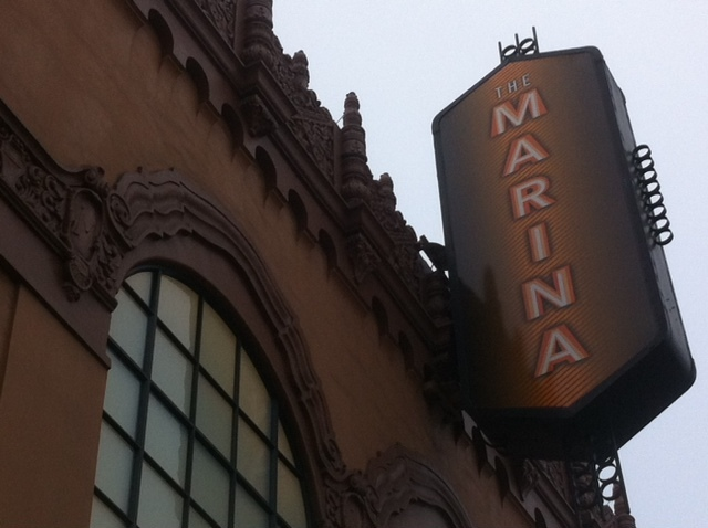 Marquee of the Marina Theater in Oct 2011