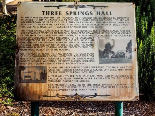 Three Springs Hall and Gardens  Railway Parade and Hall Street, Three Springs, WA
