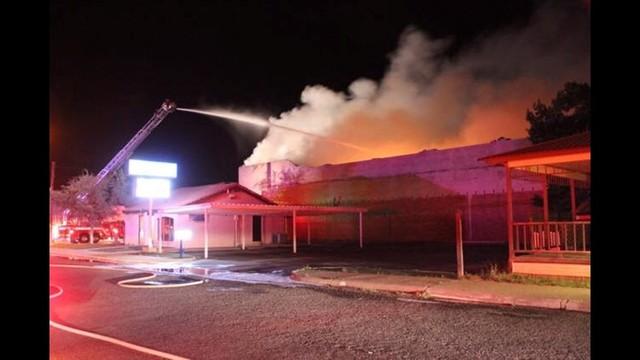 Crane Texas Theater Burns Down-Arson Apr 2016