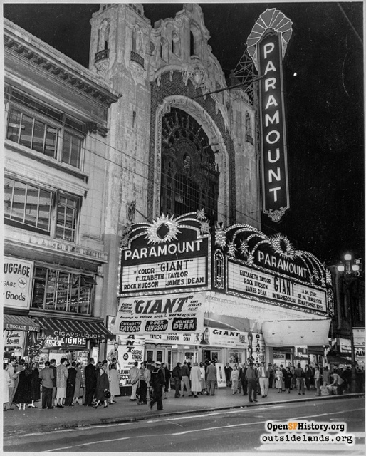 Giant at the Paramount 1956. From opensfhistory.org outsidelands.org