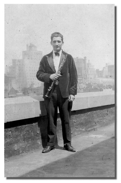 Oboe player Engelbert Brenner on Roxy roof c1927