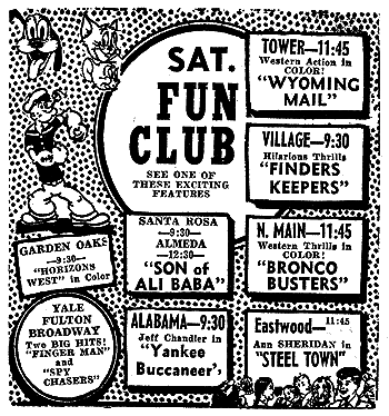 1950s Saturday Fun Club promo courtesy Retro Houston Facebook page.