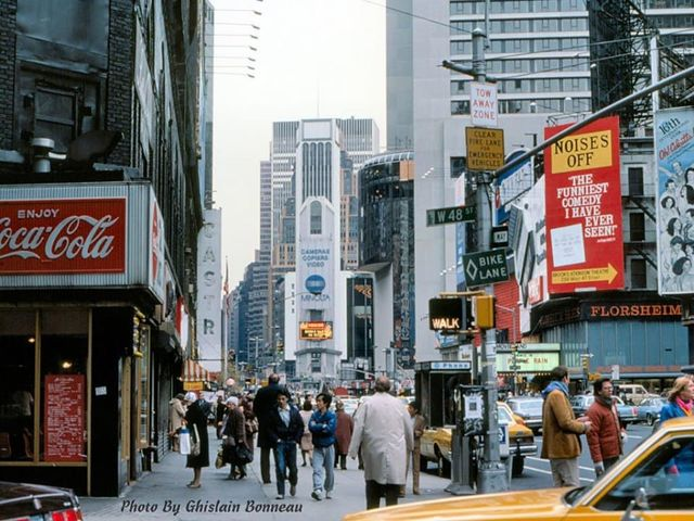 """1984 photo credit Ghislain Bonneau. """"Purple Rain"""" at the Movieland on the right. Courtesy 70s/80s New York City Facebook page."""