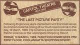 Capitol Theatre  Griffith Street, Coolangatta, QLD - Closing Announcement - 1989
