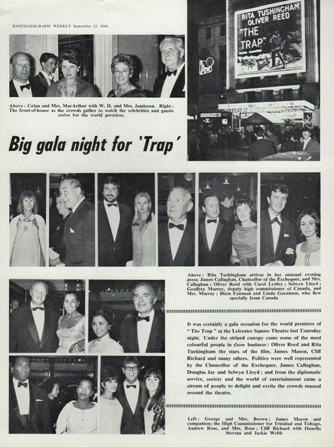 """Kinematograph Weekly coverage of """"The Trap"""" premiere September 15, 1966."""