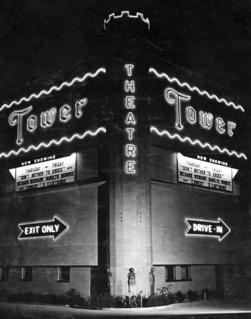 Tower Drive-In entrance, 1952